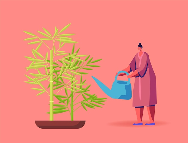 Feng shui culture chinoise, horticulture, olericulture hobby illustration.