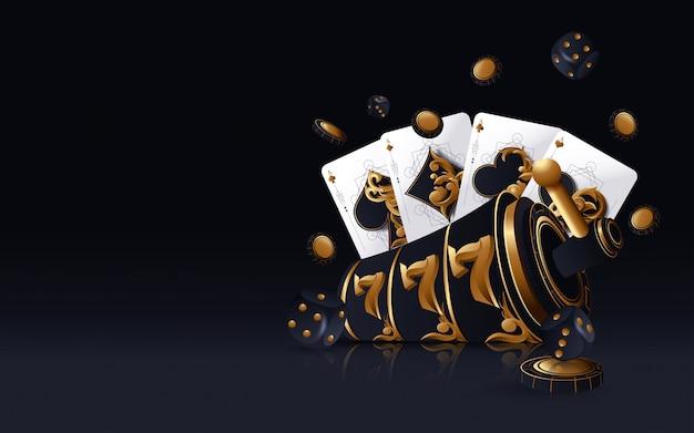Fente de casino en or, cartes de poker, jetons de poker et dés sur le fond doré