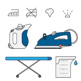 Fer à repasser isolé et vapeur à main avec symboles sur planche à repasser et bécher. illustration vectorielle moderne
