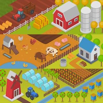 Ferme agriculture paysage ferme maison champ rural campagne arrière-plan illustration ferme maison sur aménagement paysager agricole toile de fond récolte terres agricoles village ranch
