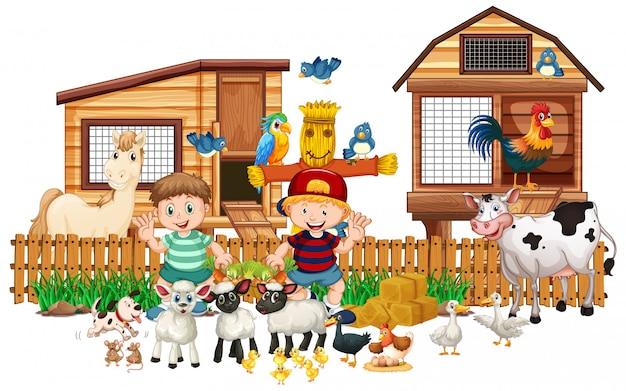 Ferme d'animaux avec deux enfants