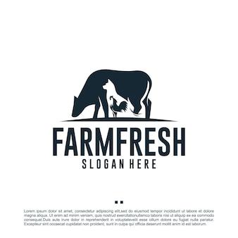 Ferme des animaux, ferme fraîche, modèle de conception de logo