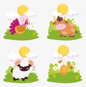 Ferme animaux mignonne dinde vache chèvre abeilles ciel soleil nuages