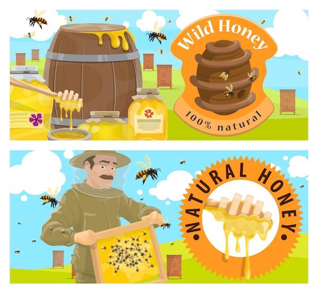 Ferme apicole, bannière de miel