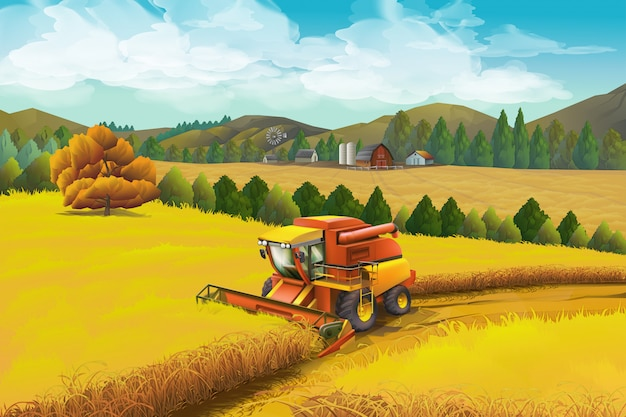 Ferme, arrière-plan. paysage rural