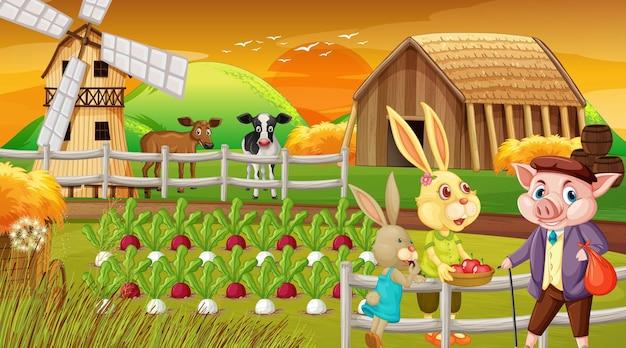 Ferme au coucher du soleil avec une famille de lapins et un personnage de dessin animé de cochon
