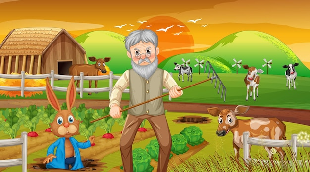 Ferme au coucher du soleil scène avec vieil homme fermier et animaux de la ferme