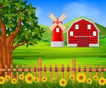 Ferme avec grange rouge et fleur