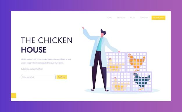 Ferme avicole en robe blanche debout près de paniers avec des poulets vivants. modèle de page de destination