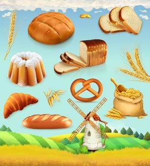 Ferme. blé et pain. ensemble 3d alimentaire
