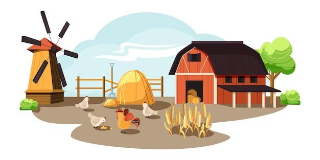 Ferme à la campagne, paysage rustique, grange et moulin, poulets et œufs.