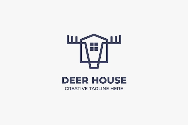Ferme cerf maison monoline business logo