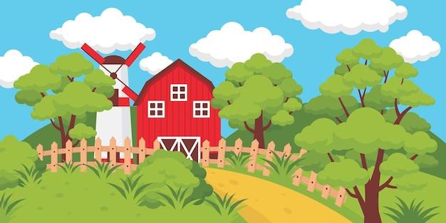 Ferme avec clôtures et moulin par une journée ensoleillée