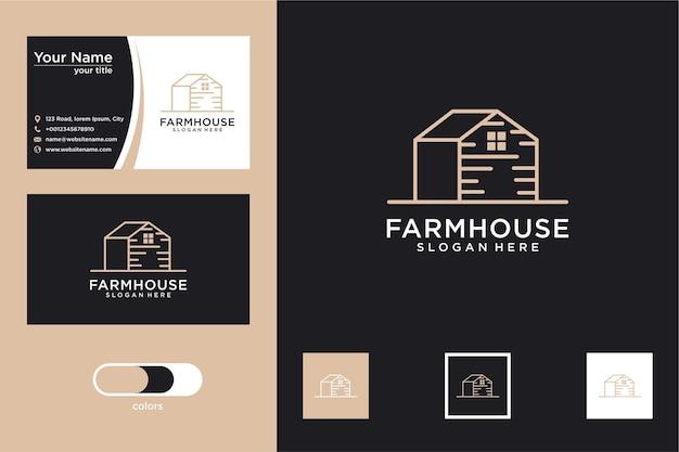Ferme avec création de logo de style de ligne et carte de visite