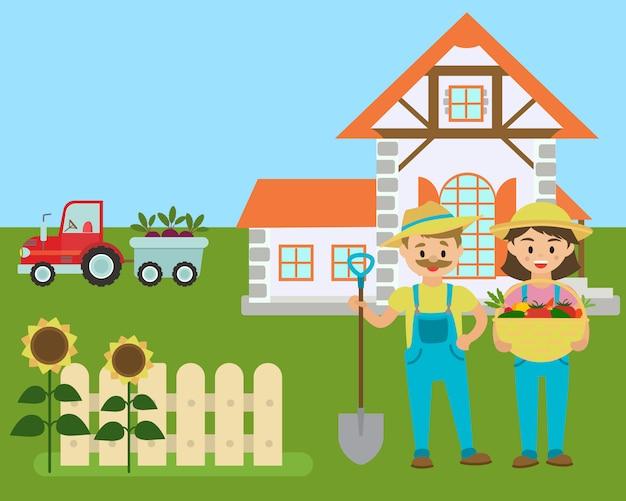 Ferme de dessins animés, agriculteurs avec la production écologique du champ,
