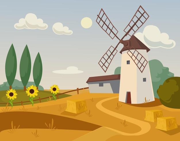 Ferme du moulin. illustration de dessin animé plat