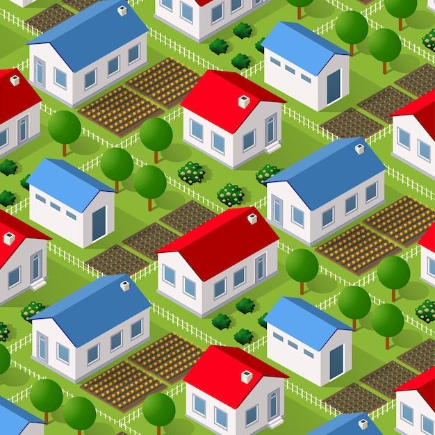 Ferme écologique de nature rurale isométrique avec lits et structures