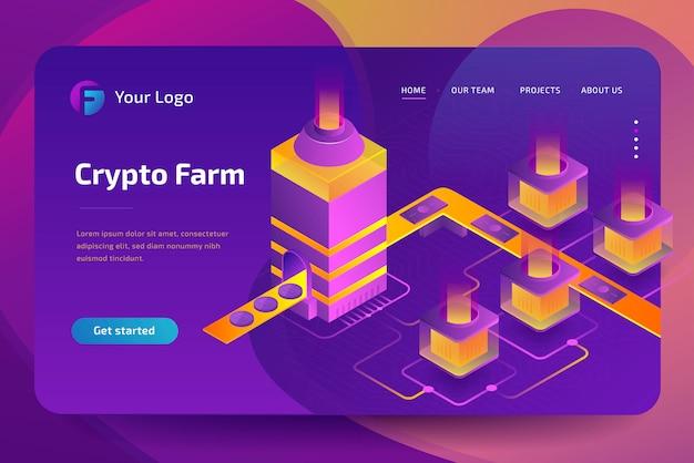 Ferme d'extraction de crypto-monnaie. création de bitcoins. isométrique
