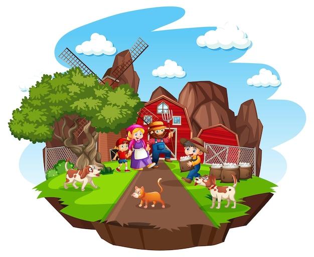 Ferme avec grange rouge et moulin à vent