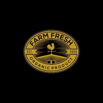 Ferme grange vintage logo frais produit bio illustration sur fond sombre