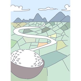 Ferme, illustration de jardin naturel