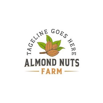 Ferme de logo de noix d'amande rétro rustique vintage avec style dessiné à la main