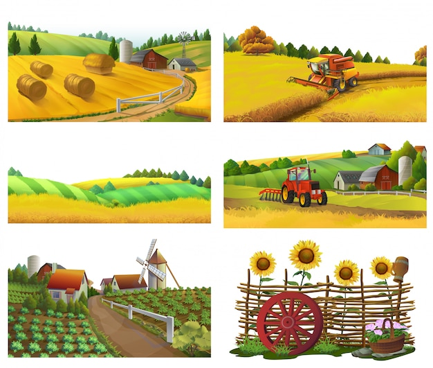 Ferme, paysage rural, set vector