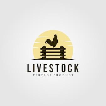 Ferme de poulet sur le logo de la clôture