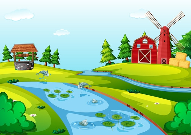 Ferme avec scène de grange rouge et moulin à vent