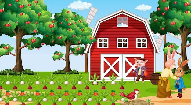 Ferme à scène de jour avec la famille des lapins