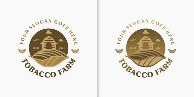 Ferme de tabac, logo vintage avec dessin au trait, pour référence commerciale