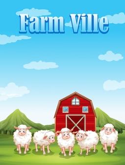 Ferme ville avec moutons et grange