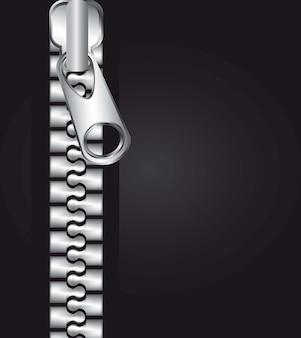 Fermeture à glissière métallique au cours de l'illustration vectorielle fond noir