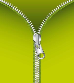Fermeture à glissière métallique au cours de l'illustration vectorielle fond vert