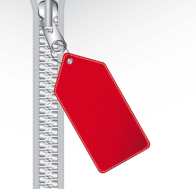 Fermeture à glissière métallique avec illustration vectorielle de tag rouge fond