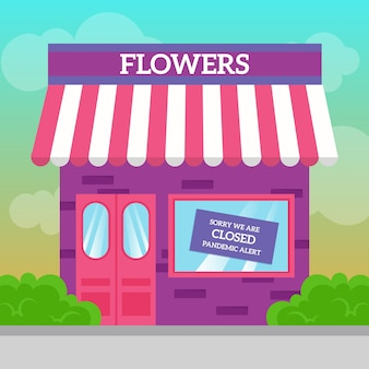 Fermeture d'un magasin de fleurs en raison d'une pandémie