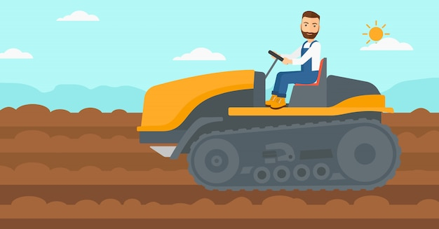 Fermier conduisant un tracteur.