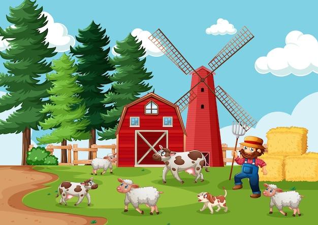 Fermier avec ferme d'animaux en scène de ferme en style cartoon