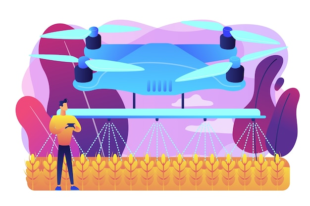 Fermier intelligent contrôlant le drone agricole pulvérisant ou arrosant les cultures. utilisation de drones agricoles, agriculture de précision, nouveau concept de tendance agricole. illustration isolée violette vibrante lumineuse
