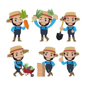 Fermier et jardinier avec des poses différentes