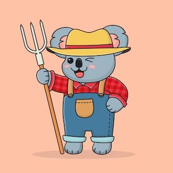 Fermier mignon de koala portant un chapeau