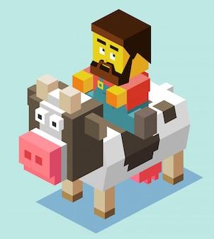 Fermier sur une vache