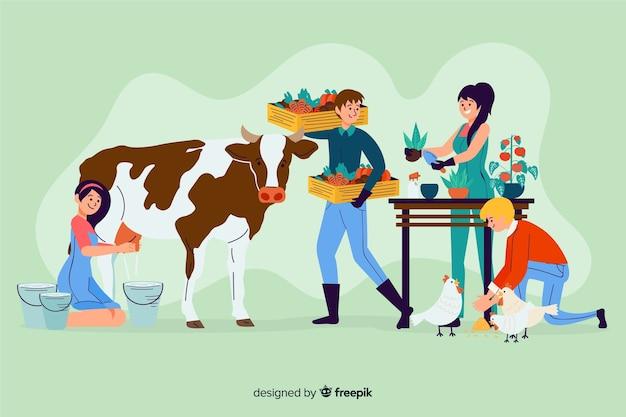 Des fermiers travaillant ensemble illustrés