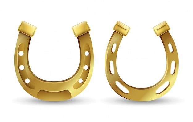 Les fers à cheval dorés chanceux symbole de la saint-patrick