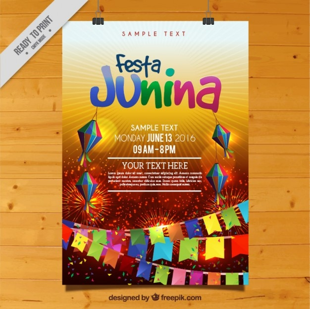 Festa colorful affiche junina célébration