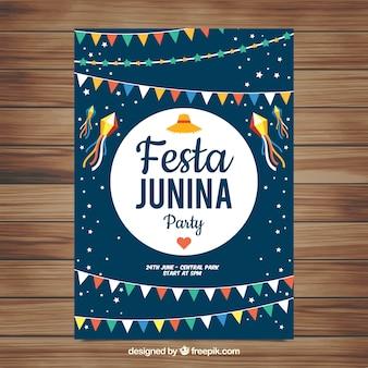 Festa junina affiche invitation avec des fanions colorés