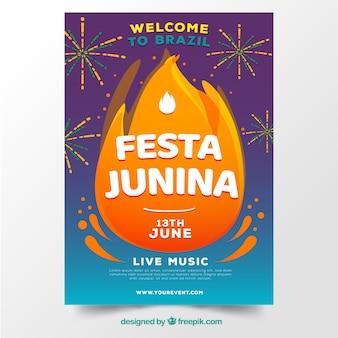 Festa junina affiche invitation avec feux d'artifice