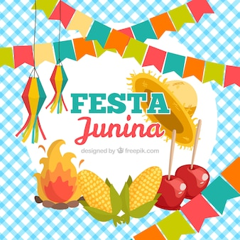 Festa junina background avec des éléments traditionnels