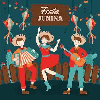Festa junina brésil juin festival dessiné à la main. fête de village en amérique latine. contexte