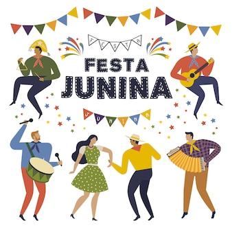 Festa junina brésil juin festival. personnages de vacances de folklore.